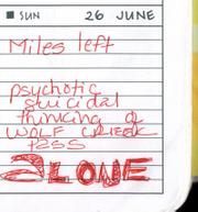From Kathy Jardon's Journal: Miles left. psychotic, suicidal, thinking of Wolf Creek Pass, ALONE.