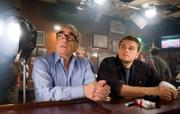 "Fellow Oscar nominees Martin Scorsese, left, and Leonardo DiCaprio relax on the set of ""The Departed."""