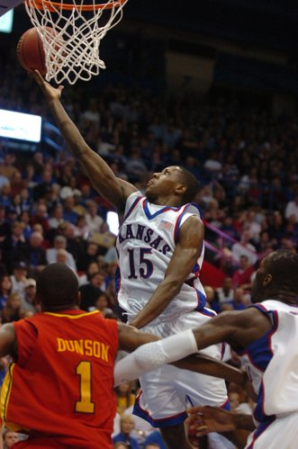 Kansas' Mario Chalmers lays one in against Iowa State on Saturday at Allen Fieldhouse.