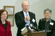 Sen. Pat Roberts speaks during a press conference Friday at the Shawnee Mission School District offices in Overland Park. With him is Alexa Posny, director of the U.S. Department of Education Office of Special Education.