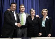 Governors, from left, Bill Richardson, New Mexico; Arnold Schwarzenegger, California; Janet Napolitano, Arizona; and Christine Gregoire, Washington, celebrate after a signing ceremony for Western Regional Climate Action Initiative on the reduction of greenhouse gas Monday in Washington, D.C. Oregon Gov. Ted Kulongoski also signed on to the deal.