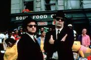 "This file photo originally released by Universal Studios shows actors John Belushi, left, and Dan Aykroyd on the set of the 1980 cult classic ""The Blues Brothers"" during the making of the film in Chicago."