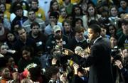 Democratic presidential hopeful Sen. Barack Obama, D-Ill., speaks during a rally at George Mason University in Fairfax, Va., in this Feb. 2 file photo. Obama spokesman Dan Pfeiffer said interest among younger voters, particularly Internet activity, has sprung up independently of the campaign.