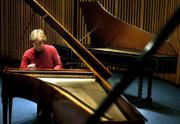 Janice Wenger rehearses on the University of Missouri's new fortepiano in Whitmore Recital Hall in Columbia, Mo. The fortepiano is an exact reproduction of the Viennese instrument designed by Anton Walter in 1802.