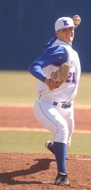 Kansas pitcher Zach Ashwood throws against Western Illinois. The Jayhawks swept the Leathernecks, 15-5 and 6-3, Sunday at Hoglund Ballpark. Ashwood earned the win in game one.