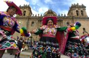 Andean women dance during a rally to mark International Women's Day on Thursday in front of the Cathedral in Cuzco, Peru. U.N. Secretary-General Ban Ki-moon urged all U.N. nations to end violence against women.