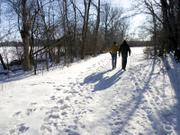 Brothers Rink, left, and Jim DaVee walk on a snow-covered trail in Madison, Wis. Prevention magazine has named Madison as the most walkable city in the United States.