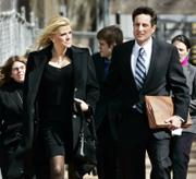 Anna Nicole Smith and her attorney, Howard K. Stern leave the U.S. Supreme Court in 2006 in Washington, D.C. A friend of Smith's turned over her computer to authorities because he feared her death was drug-related and a crime.