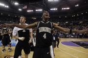 Vanderbilt's Derrick Byars (4) reacts at the end of the second overtime. Vandy topped Washington State, 78-74 in double OT, Saturday in Sacramento, Calif.