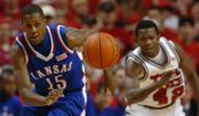 KANSAS UNIVERSITY SOPHOMORE GUARD MARIO CHALMERS chases down a loose ball during a game earlier this season at Texas Tech. Chalmers and his teammates are just two victories away from seeing their dream of a trip to the Final Four come to fruition.