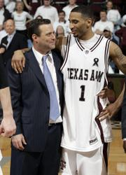 TEXAS A&M HEAD COACH BILLY GILLISPIE, LEFT, and senior point guard Acie Law IV share a moment after the Aggies beat Missouri earlier this season. Law, a freshman when A&M finished winless in the Big 12 Conference, has witnessed a turnaround that now sees the Aggies in the Sweet 16.