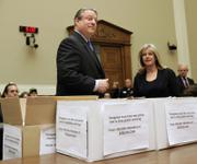With boxes full of petitions, former Vice President Al Gore and his wife, Tipper, arrive on Capitol Hill in Washington to testify on climate change. Gore's return to Congress marked the first time he had been in the Capitol since January 2001, when he was the defeated Democratic nominee still presiding over the Senate in his role as vice president.