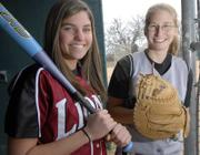 Senior softball players Lauren Kelly, Lawrence High's shortstop, and Allie Hock, Free State's catcher, are ready to play ball this spring.