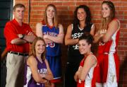 TONGANOXIE HIGH SENIOR ALI PISTORA, BACK RIGHT, headlines this year's All-Area Girls Basketball Team. Joining her on the first team are, front row from left, Baldwin senior Kelsey Verhaeghe and Tonganoxie junior Elizabeth Baska, back row from left, Tonganoxie coach Randy Kraft - the coach of the year, Santa Fe Trail senior Brooke Pryor and De Soto senior Jackie Goleman.