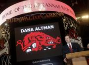 New Arkansas basketball coach Dana Altman speaks to fans and media. Arkansas introduced Altman, the former Creighton coach, at a news conference Monday.