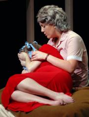 "Jenna Bleecker, back, and Meg Saricks rehearse a scene from ""Keely and Du"" Monday night in Murphy Hall."