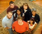 Project Scio is a group dedicated to developing human and altruistic ideals and raising money to help support poor families in developing nations. In the back row, from left, are Scott Klopfenstein, Kansas University junior, and Rachel Dobbs; in the middle, from left, are Phil Anderson, Bishop Seabury senior, Simi Singh, Lawrence High School junior, and Mininder Kaur; in front, from left, are Cathy Anderson and Parendi Birdie, LHS sophomore. All are part of Project Scio.