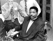 Former New England Patriot Darryl Stingley, paralyzed from a game injury, appears in this 1992 photo. Stingley died Thursday at age 55.