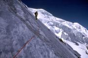 Shawn O'Fallon of Anchorage, Alaska, climbs the North Ridge of K2 in the Xinjiang Province of China during the summer of 2000. Mountain climbers are increasingly telling stories of melting glaciers and other signs of global warming.