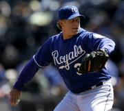 Kansas City starting pitcher Brandon Duckworth delivers against Detroit. Duckworth pitched 61â3 shutout innings in the Royals' 3-2 loss Sunday in Kansas City, Mo.