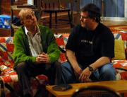 "Dean Bevan, left, and Chris Price rehearse a scene from ""On Golden Pond"" at the Lawrence Community Theatre, 1501 N.H."