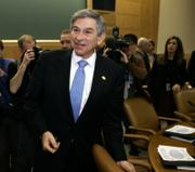 World Bank President Paul Wolfowitz arrives for a meeting of the International Monetary Fund's Monetary and Financial Committee on Saturday, at IMF headquarters in Washington.