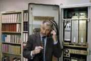 Leonard Kleinrock demonstrates how the first Internet communication was made with the help of an Interface Message Processor machine at his office at the UCLA Computer Science Department.