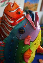 A ceramic eel painted by Patty Boyer was among wares for Lawrence's Art in the Park event in 2006. Art in the Park and other opportunities to show work have been increasingly important to area artists in light of gallery closings in the past year.