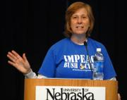 Cindy Sheehan gives the keynote address at the 2007 Omaha Peace and Justice Expo. Sheehan on Sunday urged audience members to spend more time and money urging an end to the war in Iraq.