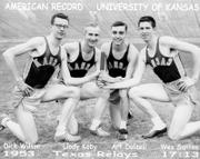 Kansas University relay team members, from left, Dick Wilson, Llody Koby, Art Dalzell and Wes Santee pose for a picture at the 1953 Texas Relays.