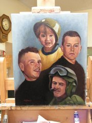 A painted collage of Army Pfc. Jeremy Lee Drexler, 23, by artist Dick Budig.
