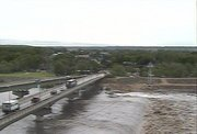 The Kansas River is expect to crest above flood stage on Tuesday. This image from a 6News Web cam on Monday morning shows that river levels are already exceeding their normal stage.