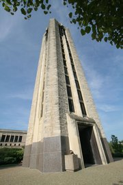 The campanile on the University of Kansas campus is one of Lawrence's most prominent landmarks.
