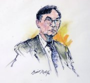 A court artist's drawing of Chi Mak