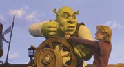 "Shrek (voiced by Mike Myers) wrestles with royal heir Arthur (Justin Timberlake) in ""Shrek the Third,"" the new  sequel to the monster animated franchise."