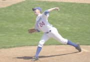 Gorzelanny, pitching for KU in 2002, throws a strike against Centenary. He was the team's closer that season and was poised to be the staff ace in 2003 before a since-rescinded Big 12 Conference rule disqualified him.