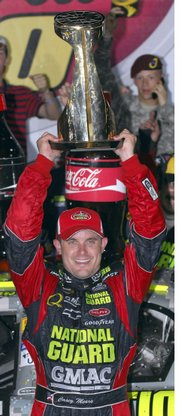Casey mears celebrates winning the Coca-Cola 600. Mears earned the victory - his first in Nextel Cup competition - Sunday in Concord, N.C.