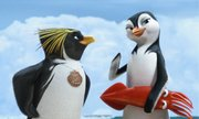 "Cody (voiced by Shia LaBeouf) and Lani (Zooey Deschanel) are among the animated penguins in ""Surf&squot;s Up."""
