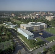 Aerial view from the northeast of the Nelson-Atkins Museum of Art and new Bloch Building.
