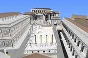 "This digital reconstruction provided by authors of the ""Rome Reborn"" project shows a view of the ancient Roman Forum used for the simulation of the historic city. The images can be found online at www.romereborn.virginia.edu."