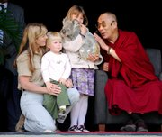 "The Dalai Lama, right, meets the Irwin family, from left, Terri, Bob and Bindi, with a koala, at Australia Zoo in Beerwah. The Dalai Lama spoke on animal rights at the zoo built by ""Crocodile Hunter"" Steve Irwin."