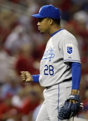 Kansas City's Octavio Dotel celebrates after collecting his sixth save.