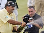 Angel Cabrera sprays champagne. Cabrera became the first Argentine to win the U.S. Open on Sunday in Oakmont, Pa.