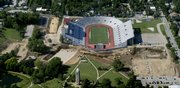 An aerial view of the land surrounding Memorial Stadium on the campus of Kansas University shows the vastness of an ongoing construction project to erect a new football complex near the southwest corner of the stadium.
