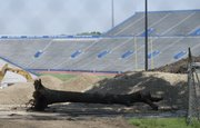 Several trees have been removed from the campus surrounding the stadium and Potter Lake to make room for the football complex.