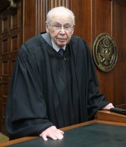 U.S. Federal District Judge Wesley Brown, shown on June 4, 2007, in Wichita. He was appointed to the bench by President Kennedy in 1962.