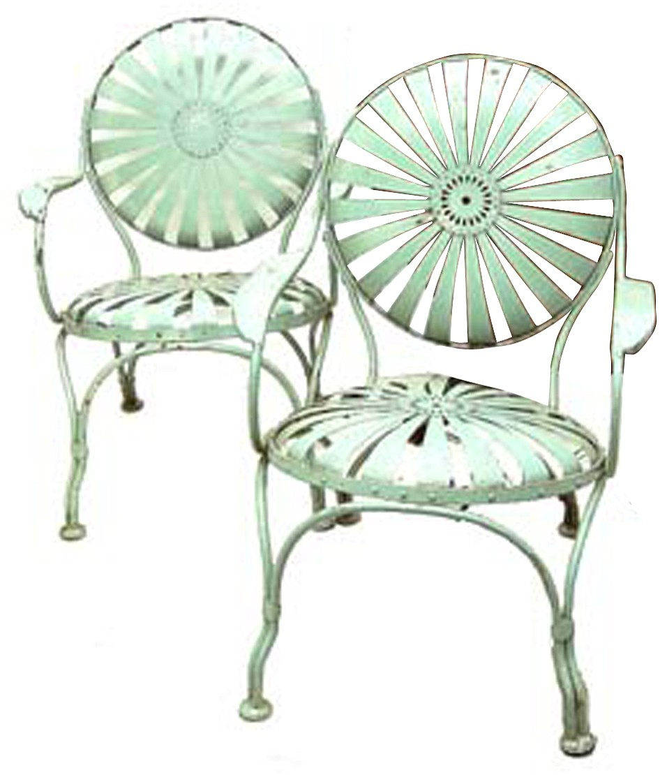 These French Garden Chairs Are Made Of Spring Steel Painted Pale Green. The  Pair