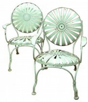 These French garden chairs are made of spring-steel painted pale green. The pair sold in March at Cyr Auction Co., Gray, Maine, for $575.