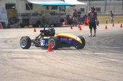 Jayhawk Motorsports recently took second place at a formula-style car event at California Speedway with the car they built, shown above at the competition.