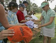 Annika Sorenstam signs autographs during practice for the 2007 Women's U.S. Open. Sorenstam met the fans Tuesday in Southern Pines, N.C., site of this week's championships.